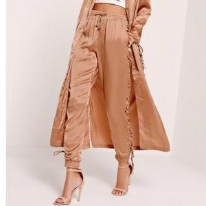 Missguided satin lace up joggers